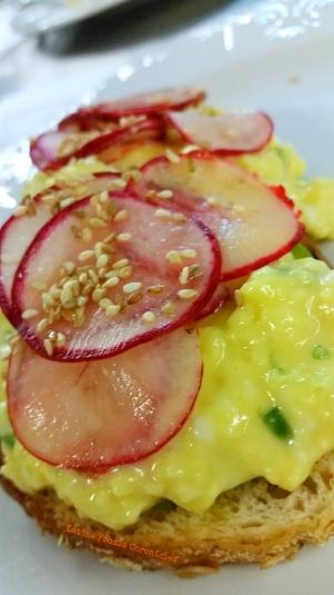 Soft Scrambled Cheesy Eggs on Avocado Toast
