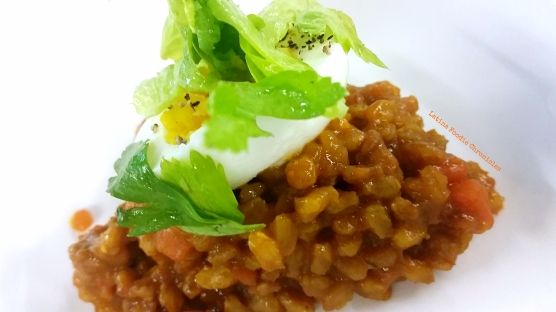 Carrot Chorizo Farro with Six Minute Egg and Celery Leaf Salad