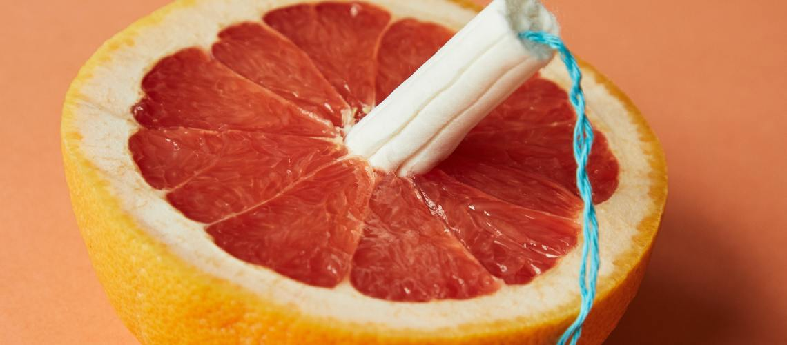Tampon in a grapefruit